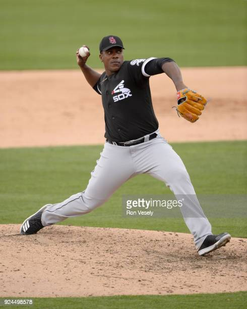 Thyago Vieira of the Chicago White Sox pitches during the game against the Los Angeles Dodgers on February 23 2018 at Camelback Ranch in Glendale...
