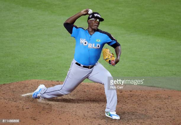 Thyago Vieira of the Seattle Mariners and the World Team delivers the pitch against the US Team during the SiriusXM AllStar Futures Game at Marlins...