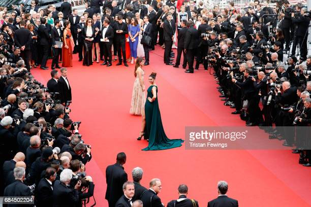 Thylane Blondeau and Deepika Padukone attends the 'Loveless ' screening during the 70th annual Cannes Film Festival at Palais des Festivals on May 18...