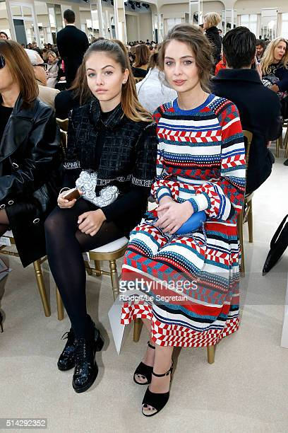 Thylane Blondeau and MarieAnge Casta attend the Chanel show as part of the Paris Fashion Week Womenswear Fall/Winter 2016/2017 on March 8 2016 in...