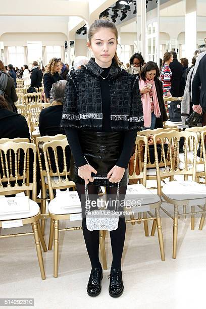 Thylane Blondeau attends the Chanel show as part of the Paris Fashion Week Womenswear Fall/Winter 2016/2017 on March 8 2016 in Paris France