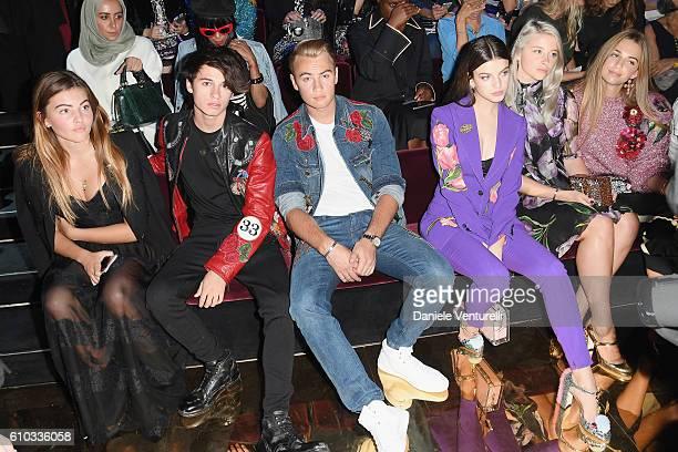 Thylane Blondeau Dylan Jagger Lee Brandon Thomas Lee Sonia Ben Ammar guest and Talita Von Furstenberg attend the Dolce And Gabbana show during Milan...
