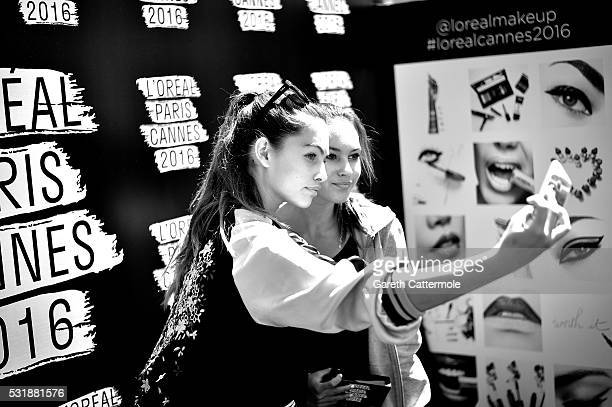 Thylane Blondeau meets with fans during a L'Oreal gifting event outside the Martinez Hotel during the 69th annual Cannes Film Festival on May 12 2016...
