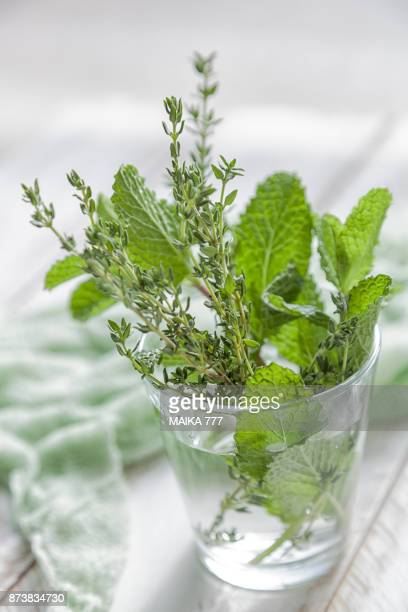 Thyme and mint infused water