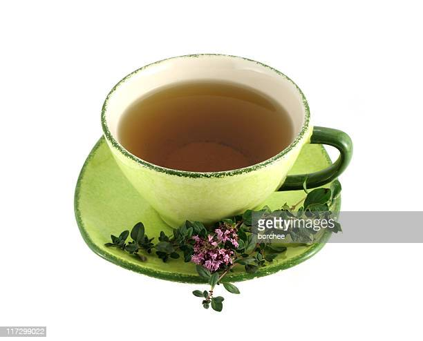 thyme tea - saucer stock pictures, royalty-free photos & images