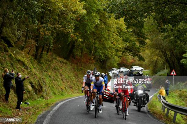 Thymen Arensman of The Netherlands and Team Sunweb / Hugh Carthy of The United Kingdom and Team EF Pro Cycling / Pierre-Luc Perichon of France and...