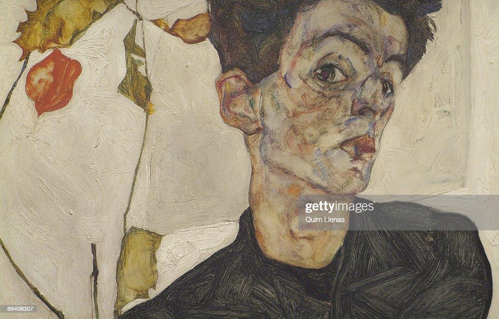 Thyssen-Bornemisza Museum, Madrid, Spain. 'The Mirror and the Mask' Exhibition. Egon Schiele. Self-Portrait with Chinese Lantern Plant, 1912