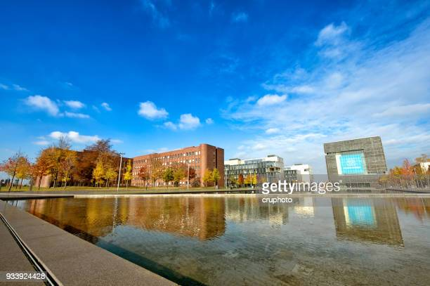 thyssenkrupp quartier in essen, germany - großunternehmen stock pictures, royalty-free photos & images