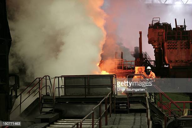 GERMANY DUISBURG ThyssenKrupp steel mill Our picture shows Workers at the hot strip mill