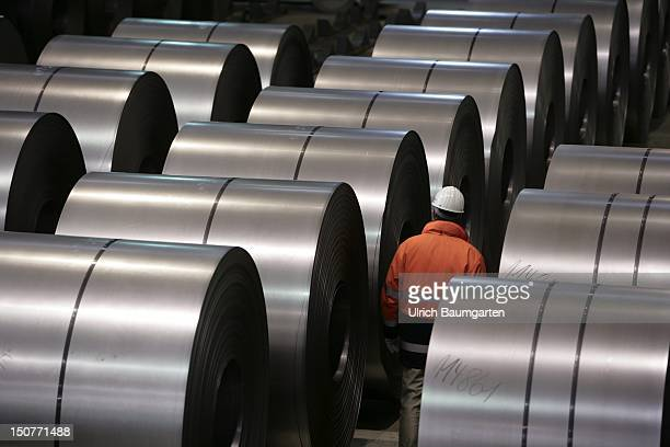 GERMANY DUISBURG ThyssenKrupp steel mill Our picture shows Workers checked coldrolled sheet in a warehouse
