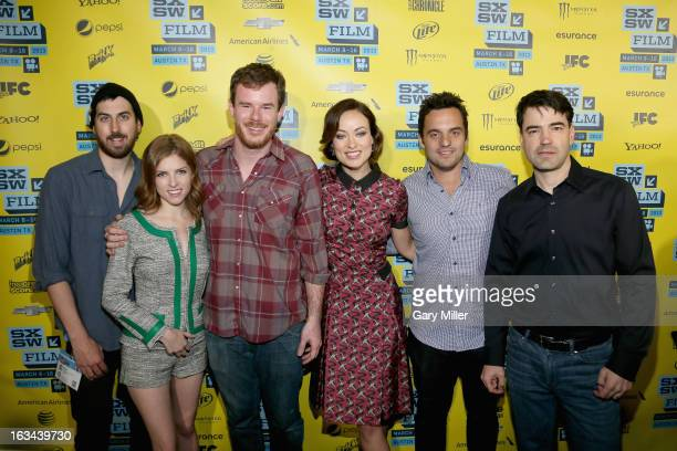 Ti West Anna Kendrick Joe Swanberg Olivia Wilde Jake Johnson and Ron Livingston pose on the red carpet at the Paramount Theater during the premiere...
