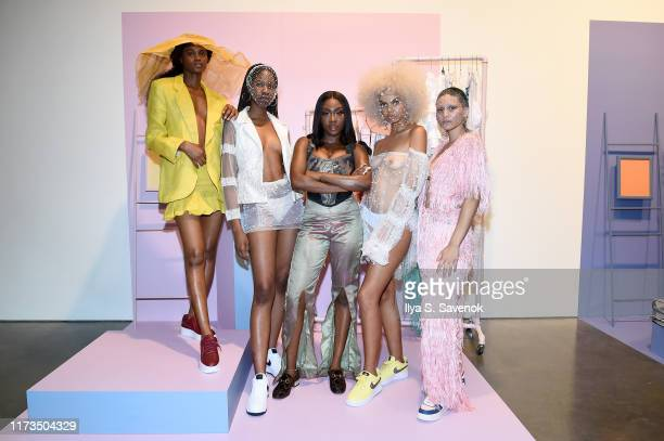 Tia Adeola of Slashed by Tia pose with their designs at Teen Vogue Celebrates Generation Next Presented By Snapchat at Studio 525 on September 09...