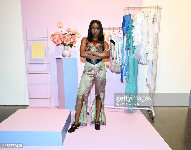 Tia Adeola of Slashed by Tia poses with her designs at Teen Vogue Generation Next Presented By Snapchat at Studio 525 at Studio 525 on September 09...