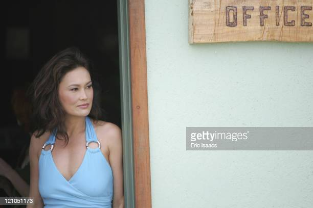 Tia Carrere during Dark Honeymoon - On Set - May 12, 2006 in Cambria, California, United States.