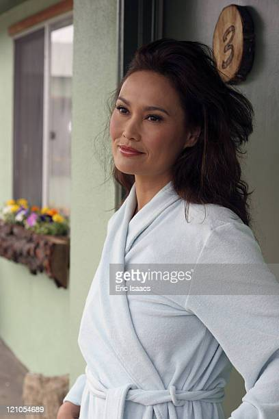 Tia Carrere during Dark Honeymoon On Set May 12 2006 in Cambria California United States
