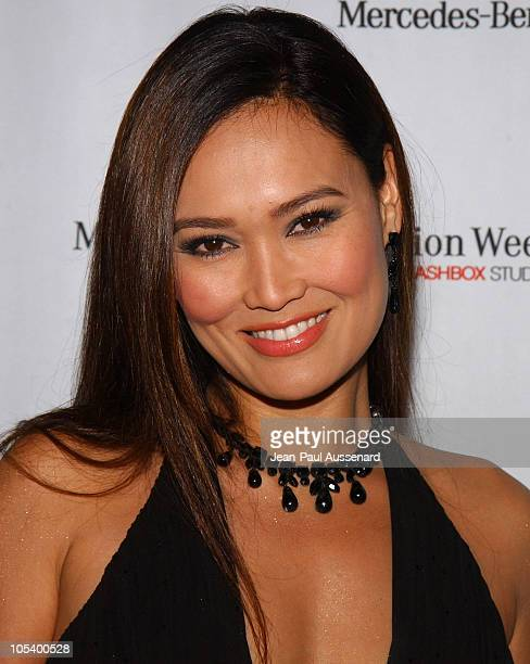 Tia Carrere during MercedesBenz Fall 2004 Fashion Week at Smashbox Studios Day 4 Arrivals at Smashbox Studios in Culver City California United States