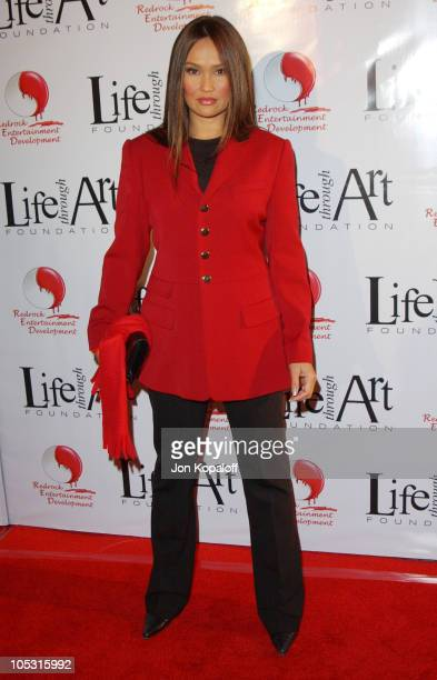 Tia Carrere during The First Annual Red Party To Benefit The Life Through Art Foundation at Private Residence in Holmby Hills California United States