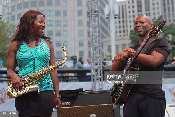 Tia Fuller and Kevin Eubanks musical director of the Tonight Show featuring Jay Leno orchestra rehearse during the 33rd Annual Detroit Jazz Festival...