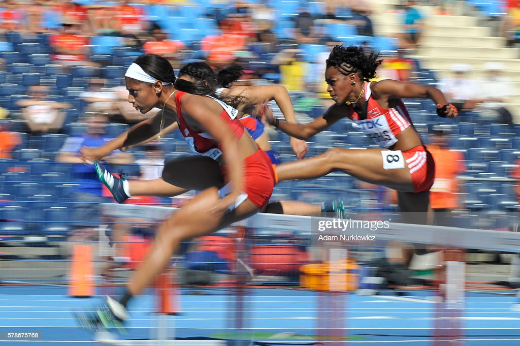 Tia Jones from USA competes in women's 100 metres hurdles during the IAAF World U20 Championships at the Zawisza Stadium on July 22, 2016 in Bydgoszcz, Poland.