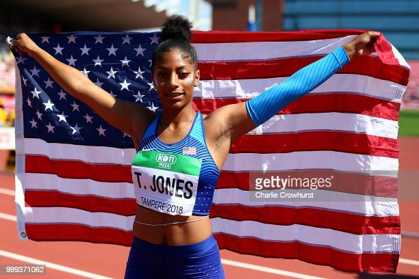 Tia Jones of The USA celebrates winning gold in the final of the women's 100m hurdles on day six of The IAAF World U20 Championships on July 15 2018...