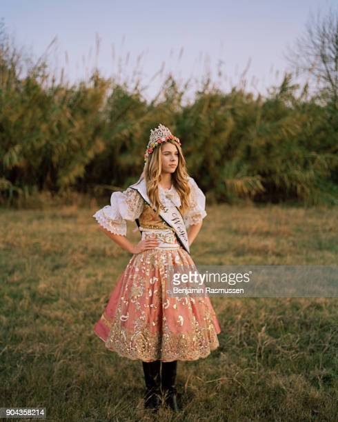 Tia Kolar Miss Westfest 2016 which celebrates Czech heritage poses for a portrait outside of her home in West Texas on December 13 2016 When...