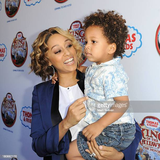 """Tia Mowry and Cree Hardrict attend the """"Thomas & Friends: King of the Railway"""" blue carpet premiere at The Grove on September 15, 2013 in Los..."""
