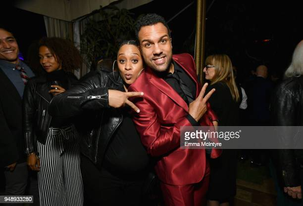Tia Mowry and OT Fagbenle attends the premiere of Hulu's 'The Handmaid's Tale' Season 2 at Chateau Marmont on April 19 2018 in Los Angeles California