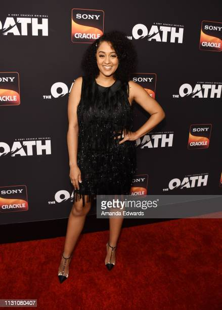 Tia Mowry arrives at Sony Crackle's 'The Oath' Season 2 exclusive screening event at Paloma on February 20 2019 in Los Angeles California