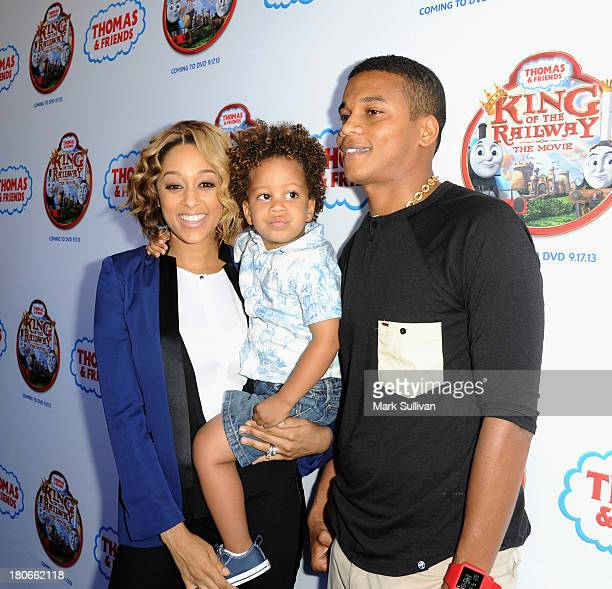 """Tia Mowry, Cree Hardrict and Cory Hardrict attend the """"Thomas & Friends: King of the Railway"""" blue carpet premiere at The Grove on September 15, 2013..."""