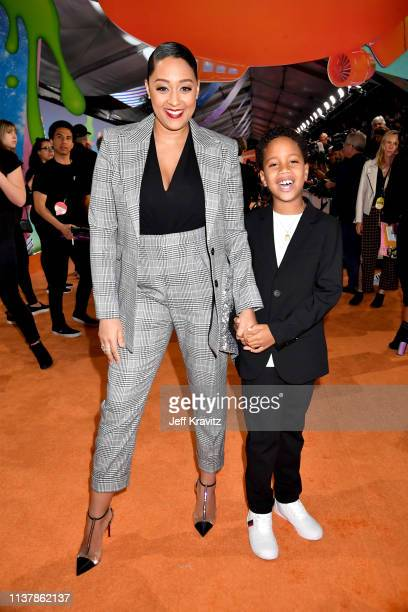 Tia MowryHardrict and Cree Taylor Hardrict attend Nickelodeon's 2019 Kids' Choice Awards at Galen Center on March 23 2019 in Los Angeles California