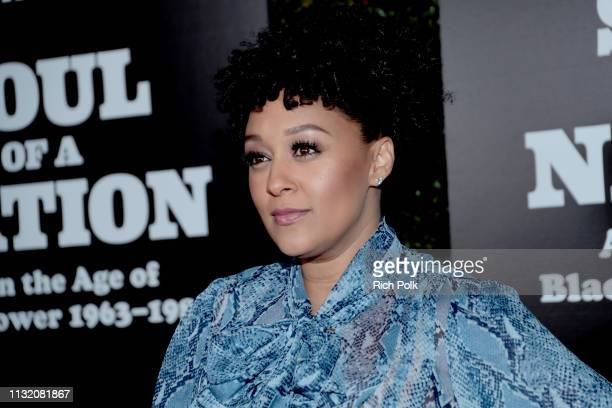 Tia MowryHardrict attends The Broad Museum celebration for the opening of Soul Of A Nation Art in the Age of Black Power 19631983 Art Exhibition at...