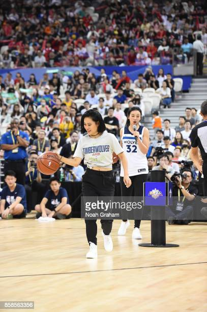 Tia Ray dribbles the ball during fan day as part of 2017 NBA Global Games China on October 7 2017 at the Oriental Sports Center in Shanghai China...
