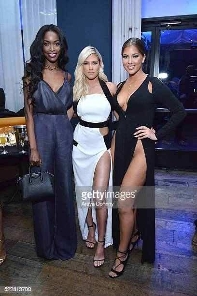 Tia Shipman Barbie Blank and Olivia Pierson attend LA NUIT by Sofitel Los Angeles at Beverly Hills at Sofitel Hotel on April 20 2016 in Los Angeles...