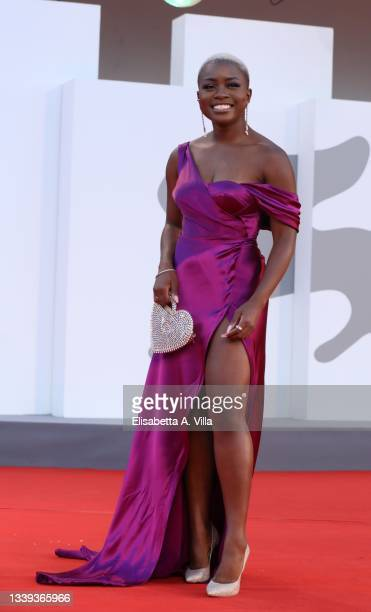 """Tia Taylor attends the red carpet of the movie """"America Latina"""" during the 78th Venice International Film Festival on September 09, 2021 in Venice,..."""