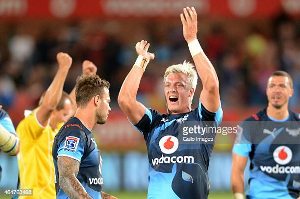 Tiaan Schoeman of the Bulls celebrate the win during the Super Rugby match between Vodacom Bulls and Cell C Sharks at Loftus Versfeld on February 28...