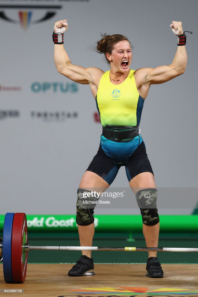 Tia-Clair Toomey of Australia celebrates her gold winning lift in the clean and jerk during the Women's Weightlifting 58kg on day two of the Gold Coast 2018 Commonwealth Games at Carrara Sports and Leisure Centre on April 6, 2018 on the Gold Coast, Australia.