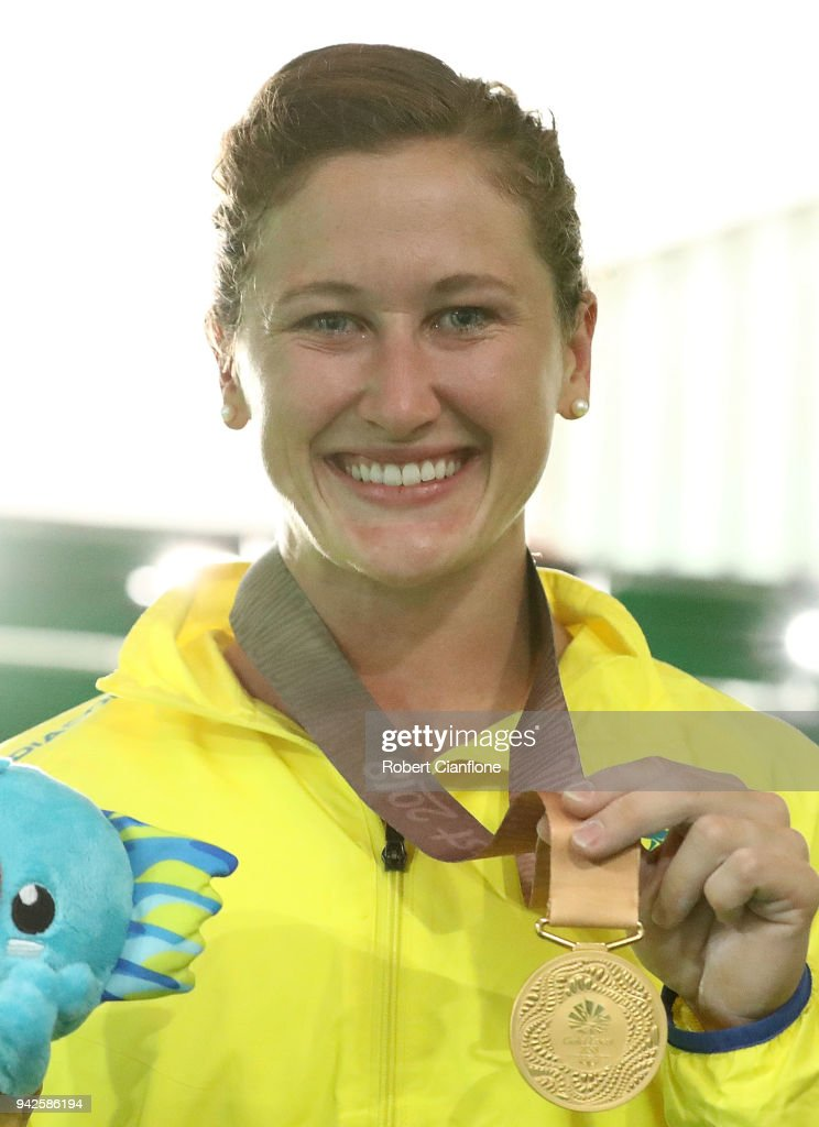 Tia-Clair Toomey of Australia poses after winning the gold medal during the Women's 58kg Weightlifting Final on day two of the Gold Coast 2018 Commonwealth Games at Carrara Sports and Leisure Centre on April 6, 2018 on the Gold Coast, Australia.