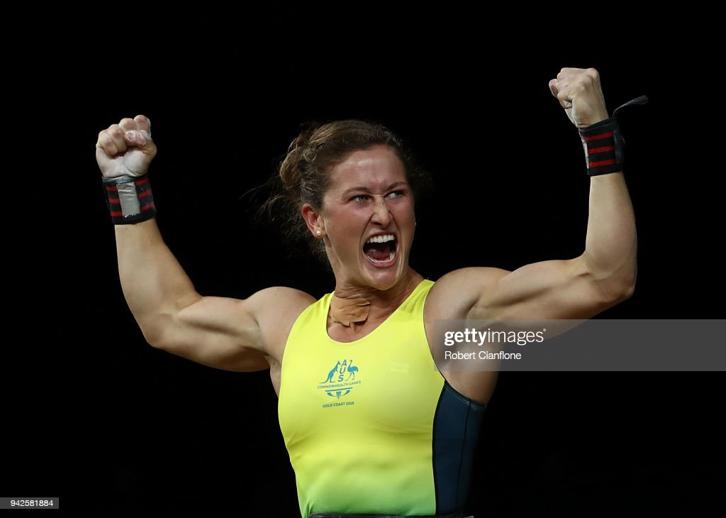 Tia-Clair Toomey of Australia reacts after winning the gold medal during the Women's 58kg Weightlifting Final on day two of the Gold Coast 2018 Commonwealth Games at Carrara Sports and Leisure Centre on April 6, 2018 on the Gold Coast, Australia.