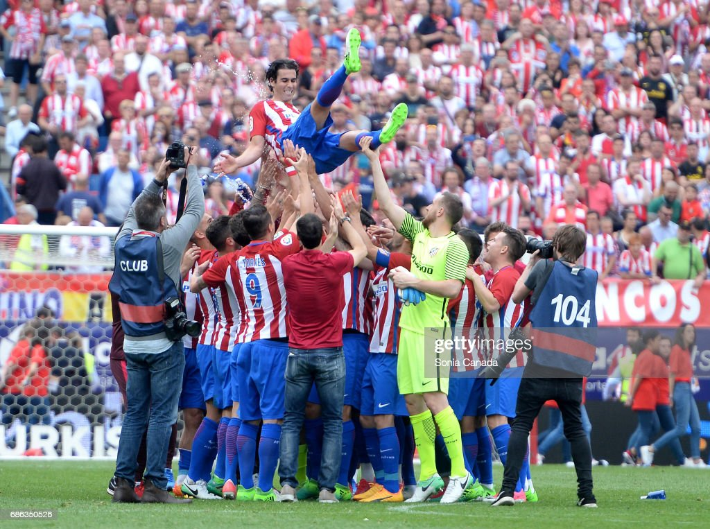 Tiago, #5 of Atletico de Madrid at the end of The La Liga match between Club Atletico de Madrid and Athletic Club at Vicente Calderon on May 21, 2017 in Madrid, Spain.