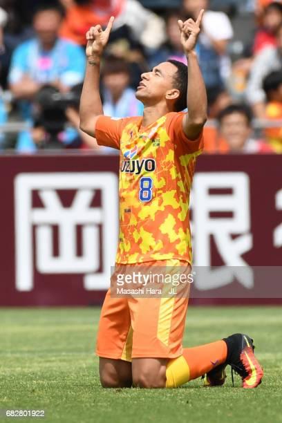 Tiago Alves of Shimizu SPulse celebrates the first goal during the JLeague J1 match between Shimizu SPulse and Sagan Tosu at IAI Stadium Nihondaira...