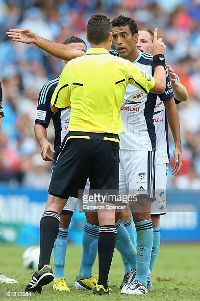 Tiago Calvano of Sydney FC talks to referee Ben Williams during the round 20 ALeague match between Sydney FC and the Brisbane Roar at Allianz Stadium...