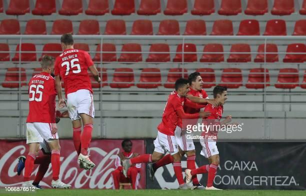 Tiago Dantas of SL Benfica B celebrates after scoring a goal during the Ledman Liga Pro match between SL Benfica B and GD Estoril Praia at Caixa...