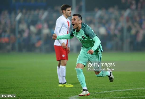 Tiago Dias of Portugal celebrates scoring his goal during the under 20 international friendly match between Poland and Portugal on November 9 2017 in...