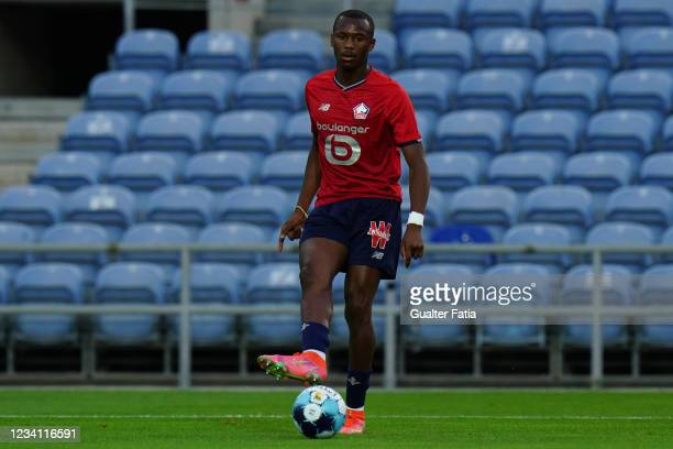 Tiago Djalo of LOSC Lille in action during the Pre-Season Friendly match between SL Benfica and Lille at Estadio Algarve on July 22, 2021 in Loule,...