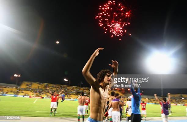 Tiago Ferreira of Portugal celebrates after the FIFA U20 World Cup 2011 quarter final match between Portugal and Argentina at Estadia Jaime Moron...