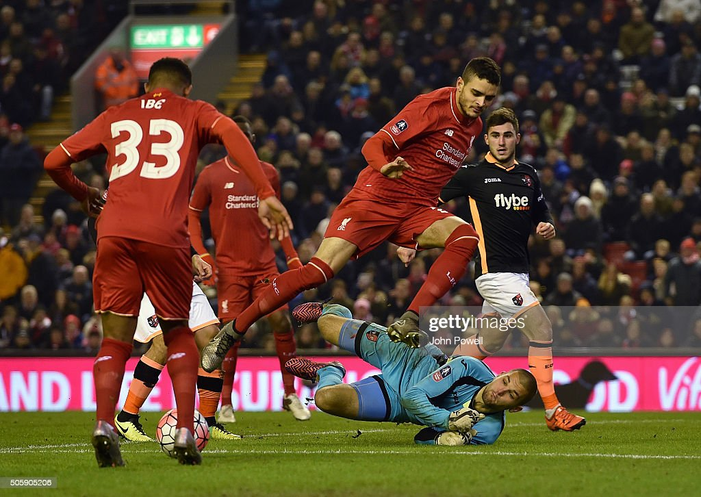 Tiago Ilori of Liverpool competes during The Emirates FA Cup Third Round Replay between Liverpool and Exeter City at Anfield on January 20, 2016 in Liverpool, England.