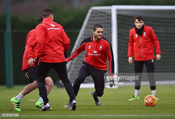 Tiago Ilori of Liverpool during a training session at Melwood Training Ground on March 1 2016 in Liverpool England