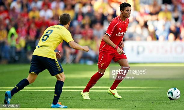 Tiago Ilori of Liverpool FC in action during the PreSeason Friendly match between Brondby IF and Liverpool FC at Brondby stadium on July 16 2014 in...
