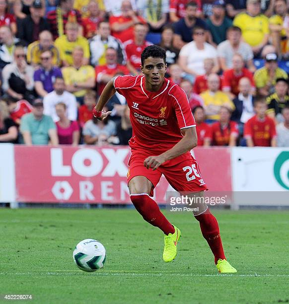 Tiago Ilori of Liverpool in action during the Preseason friendly match between Brondby IF and Liverpool FC at Brondby Stadium on July 16 2014 in...