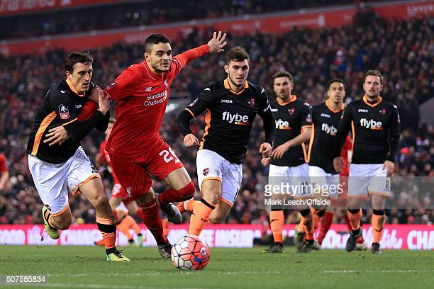Tiago Ilori of Liverpool takes on the Exeter defence during the Emirates FA Cup Third Round Replay match between Liverpool and Exeter City at Anfield...
